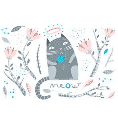 cat and flowers decorative elements vector image