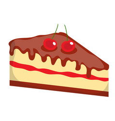 Cheesecake cake icon flat cartoon style vector