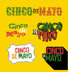 Cinco de mayo badges holiday typography design vector
