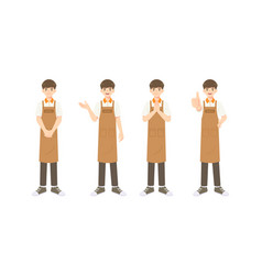 collection smart waiter or assistant in apron vector image