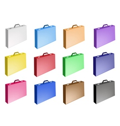 Colorful Set of Leather Suitcase Icon vector