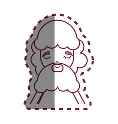 Contour man with beard and casual cloth icon vector