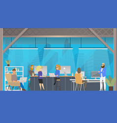 Coworking office open space environment vector