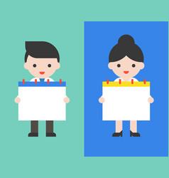 Cute businessman and woman holding blank calendar vector