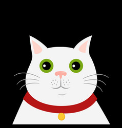 cute cartoon white cat icon hello spring vector image