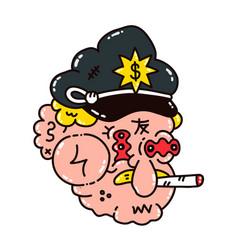 Dope cop policeman smoke marijuana vector