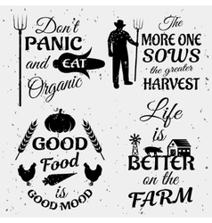 Farm Quotes Monochrome Set vector