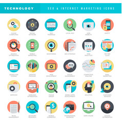 flat design icons for seo and internet marketing vector image