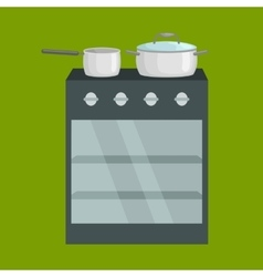 Frying pan on stove kitchenware icons set vector