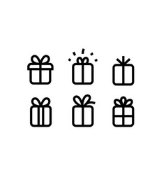 Gift box icons collection isolated on white vector