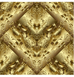 Gold 3d textured abstract seamless pattern vector