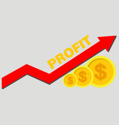Gold coins and graph arrow up concept income and vector