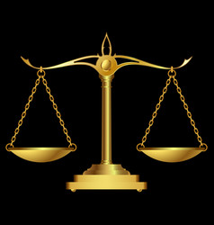 gold scales justice vector image