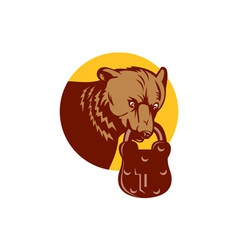 Grizzly Bear Biting Bear Padlock Circle Retro vector