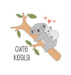 hand drawing cute koalas vector image