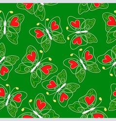 Heart butterfly pattern green vector