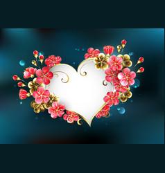 heart with sakura flowers vector image