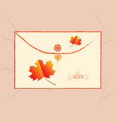 Hello autumn card with leaves envelope vector