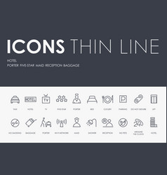 Hotel thin line icons vector