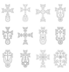 Icon set with ancient armenian symbol khachkar vector