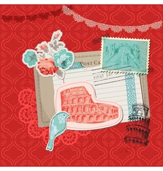 Italy Vintage Card with Stamps vector image