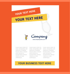 juice glass title page design for company profile vector image