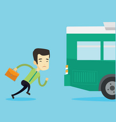 Latecomer man running for the bus vector