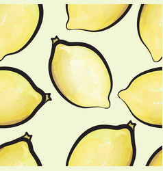 Lemon watercolor seamless pattern juicy fruits vector