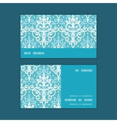 light blue swirls damask horizontal stripe vector image