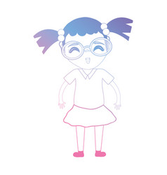 Line avatar girl with hairstyle and clothes vector