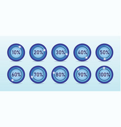 loading process in different percentage round vector image