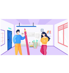 Man stands with a pencil in his hands girl vector