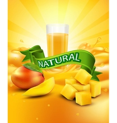 mango a glass of juice slices of mango vector image vector image