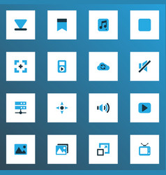 media colorful icons set collection of bottom vector image