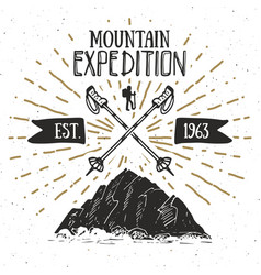 Mountain expedition vintage label retro badge vector