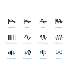 music and audio types duotone icons on white vector image