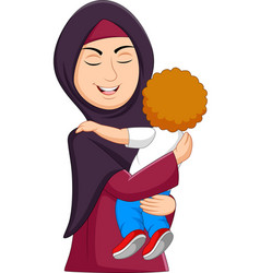 muslim mother hugging her son vector image