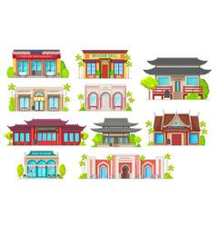 National cuisine restaurants buildings set vector