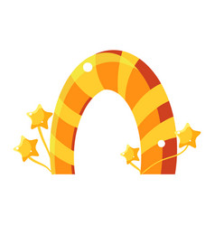 Orange and yellow caramel stripy arch fairy tale vector