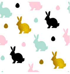 pattern with rabbits and eggs vector image