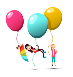 People flying on colorful balloons vector