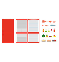 red flat fridges close and open empty vector image