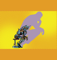 Robot thinker with the shadow of a man vector