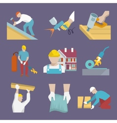 Roofer icons flat vector