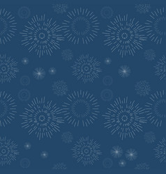 seamless geometric pattern fireworks on blue vector image