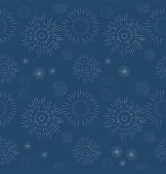 Seamless geometric pattern fireworks on blue vector