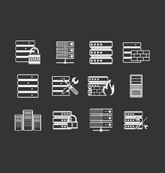 server icon set grey vector image