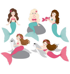 Set of beautiful mermaids vector