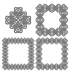 Set of magic knotting frames and celtic cross vector