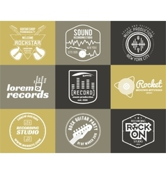 Set of music production logo Musical label vector image